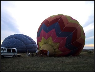 Inflating the balloon at dawn